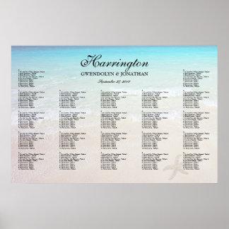 海のビーチ結婚式の披露宴の座席の図表によって ポスター