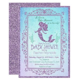 海のベビーシャワーの招待状の下の人魚 カード