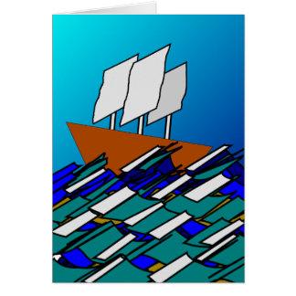 海のボート カード