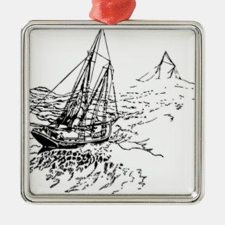 海のボート メタルオーナメント