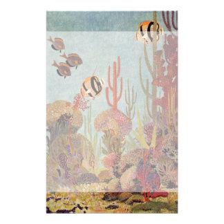 海のヴィンテージの魚、熱帯珊瑚のAngelfish 便箋