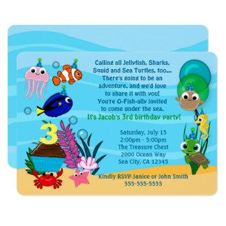 海の下の海動物の誕生日の招待状 カード
