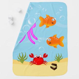 海の下、おもしろいのキャラクター ベビー ブランケット