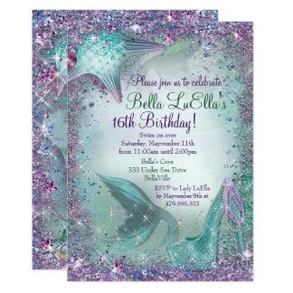海の人魚のパーティの招待状の下 カード