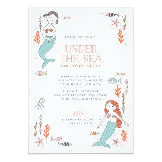 海の人魚のパーティの誕生日の招待状の下 カード