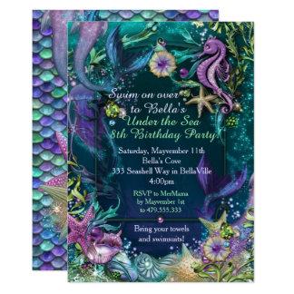 海の人魚の誕生日の招待状の下の写真 カード