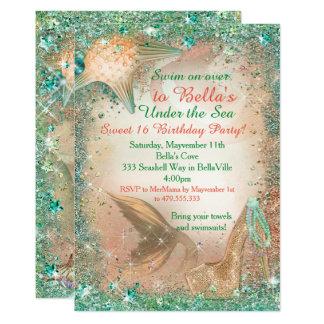 海の人魚の誕生日の招待状の下 カード