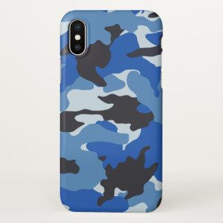 海の光沢のある青い迷彩柄のカッコいいのカムフラージュパターン iPhone X ケース
