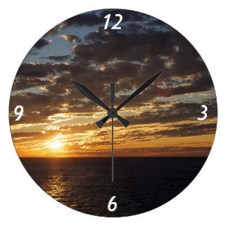 海の写真の日没 ラージ壁時計