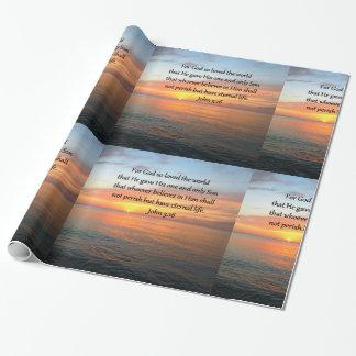 海の写真上のジョンの3:16の日の出 ラッピングペーパー