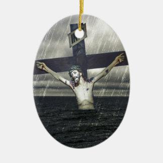 海の十字のイエス・キリスト セラミックオーナメント