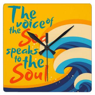 海の声は精神に伝えます スクエア壁時計