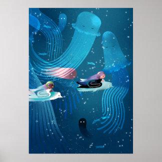 海の子供のイラストレーションで競争している人魚 ポスター