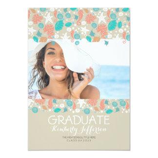 海の宝物ビーチの写真の卒業パーティー 12.7 X 17.8 インビテーションカード