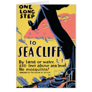 海の崖へのちょうど1つの長いステップ カード