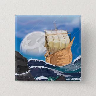 海の嵐の帆船 5.1CM 正方形バッジ