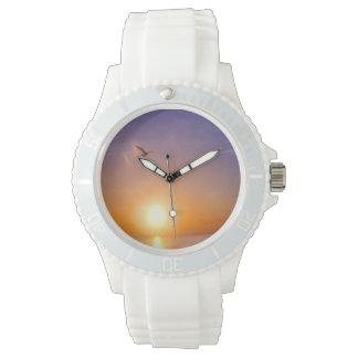 海の日の出のカモメ 腕時計
