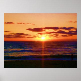 海の日の出 ポスター