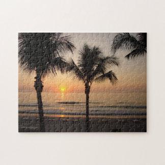 海の日没のヤシの木のフロリダの写真撮影のパズル ジグソーパズル