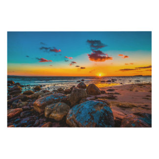 海の日没 ウッドウォールアート