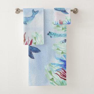 海の水彩画の海動物の下 バスタオルセット