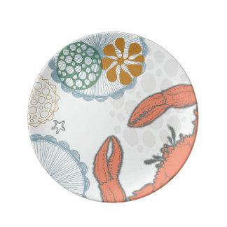 海の沿岸カニ-サラダプレート 磁器プレート