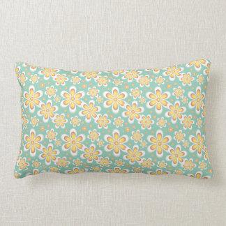 海の泡の緑および黄色の花模様の枕 ランバークッション