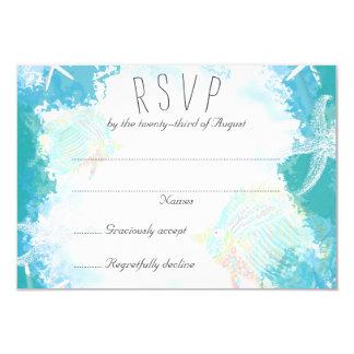 海の熱帯魚の結婚式の応答カードの下 カード