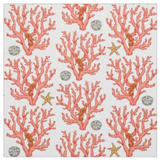 海の珊瑚、砂ドルおよびヒトデ ファブリック