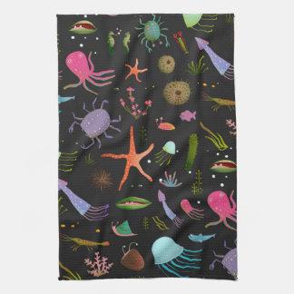 海の生き物パターン キッチンタオル