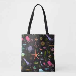 海の生き物パターン トートバッグ