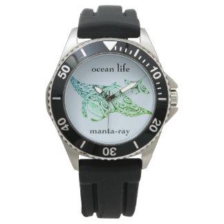海の生命マンタ光線 腕時計