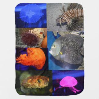 海の生命Angelfishのくらげのライオン及びパッファーの魚 ベビー ブランケット