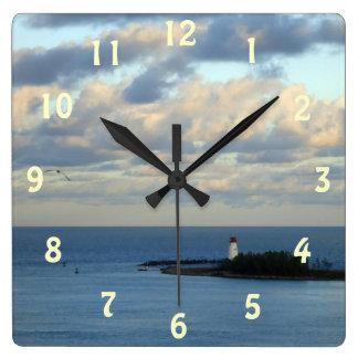 海の眺めII スクエア壁時計
