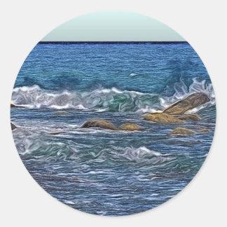 海の石の絵画 ラウンドシール