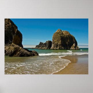 海の積み重ね、干潮、オーシャンサイド、オレゴン、米国 ポスター