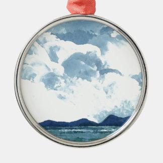 海の端で青空は海の芸術を曇らせます メタルオーナメント