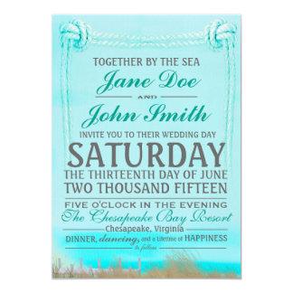 海の結婚式招待状による結び目を結ぶこと カード