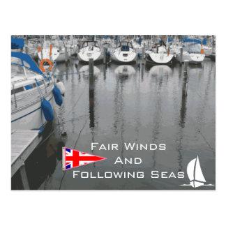 海の航海のな句の後のイギリスの旗の公平な風 ポストカード