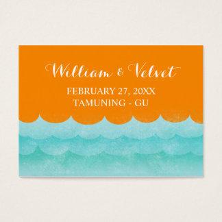 海の航海のな結婚式の座席表のオレンジ 名刺