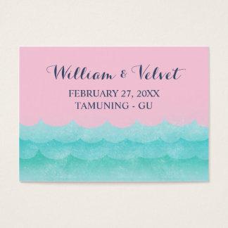 海の航海のな結婚式の座席表のピンク 名刺