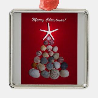 海の貝のクリスマスツリー メタルオーナメント