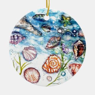 海の貝の水彩画の絵画 セラミックオーナメント