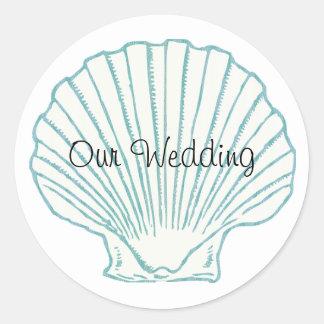 海の貝の結婚式の封筒用シール 丸型シール