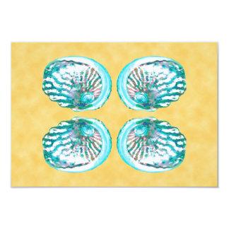 海の貝デザイン、ターコイズおよび黄色 カード