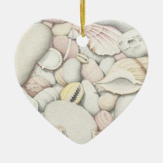 海の貝及び小石のハッピーバースデーのオーナメント セラミックオーナメント