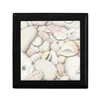 海の貝及び小石の正方形のタイルのギフト用の箱 ギフトボックス