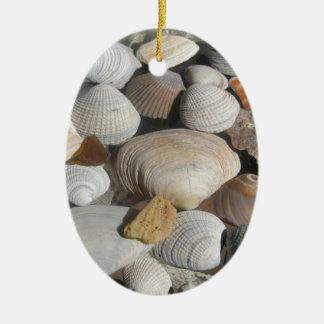 海の貝、サーファーのスタイル 陶器製卵型オーナメント