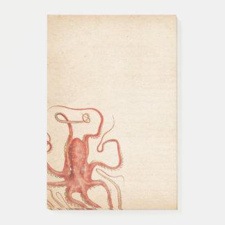 海の赤いタコによって老化させるセピア色Steampunk ポストイット