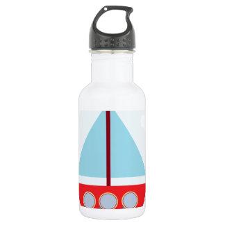 海の赤くおよび青のヨット ウォーターボトル